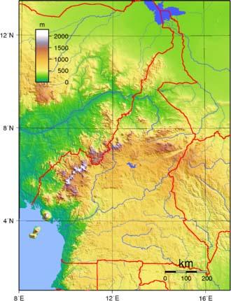 Kamerunkarte (topographisch)